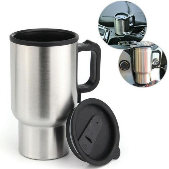 Travel Heated Cups Car 12V Thermal Heater Electric Mug 500ml Stainless Steel Mug pictures & photos