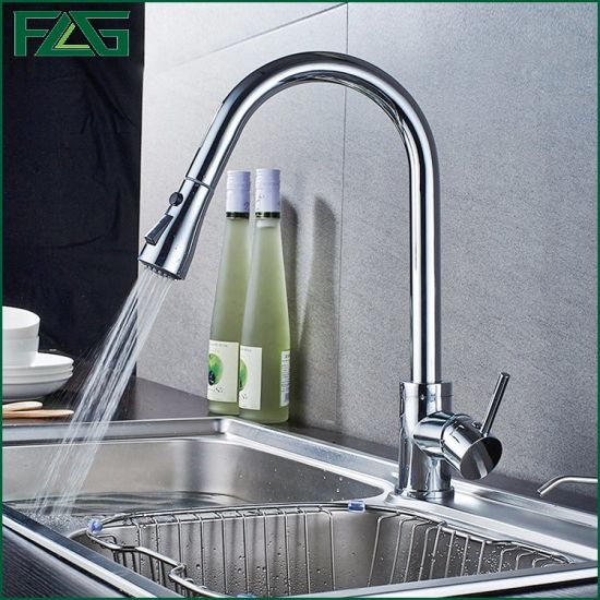 Flg Sanitary Ware Mixer Pull out Chrome Kitchen Faucet