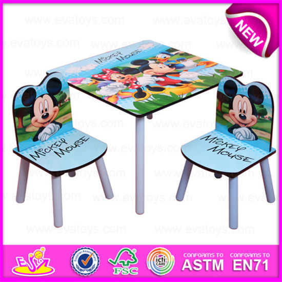 Movable Writing Table And Chair For Kids Promotional High Quality Wooden Children W08g151