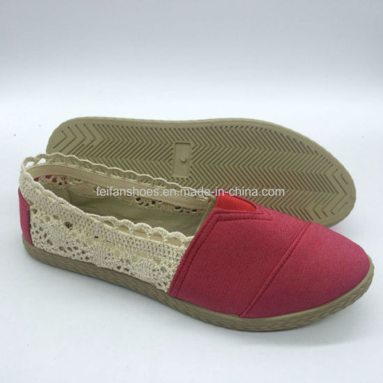 Women's Slip-on Shoes Injection Flat Canvas Shoes Casual Shoes (PY18422-3)
