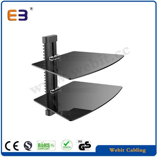 Adjustable Height Shelf, DVD Wall Bracket with 2 Glass Layers