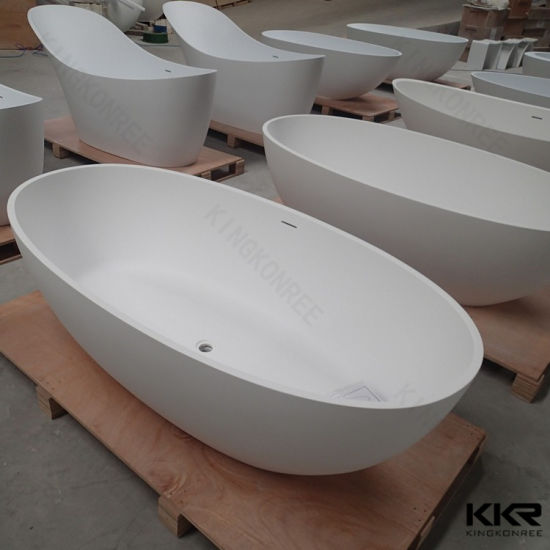 Rectangular Corner Bathtub Artificial Stone Bath Tub