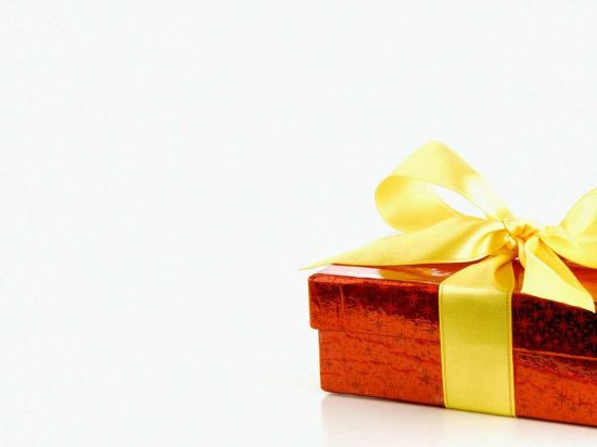 Christmas Gift Wrapped Box with Ribbon