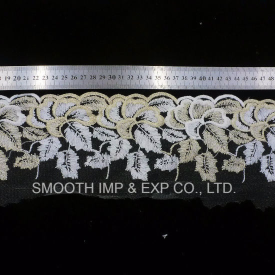 Fashion Clothing Accessories Net Yarn Embroidery Elastic Lace Fabric Textile