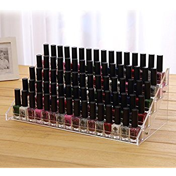 Tiered Clear Acrylic Nail Polish Rack Organizer