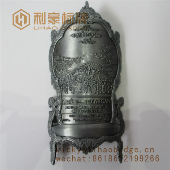 Plating Antique Silver Curved Zinc Alloy Label Metal Plate for Wine Bottle