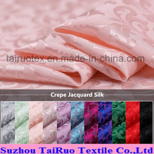 Reactive Printed Crepe Jacquard Silk for Silk Quit Fabric pictures & photos