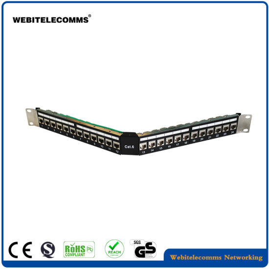 China FTP 1u Angled CAT6 Patch Panel 24 Ports RJ45 Patch Panel