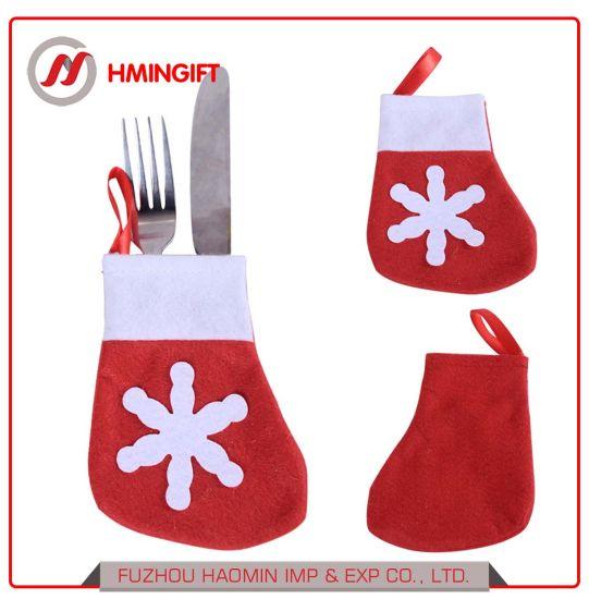 Non-Woven Felt Christmas Knife and Fork Set Christmas Small Socks Cutlery Bag Custom Christmas Decorations Manufacturer
