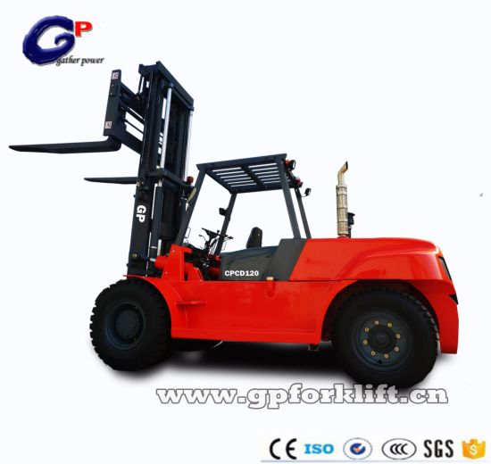 Hot Sale High Quality Diesel Power 3 Stage Full Free Mast Chinese Japanese Engine Heavy Forklift Truck for 11.5-15tons Loading Capacity From Gp Factory
