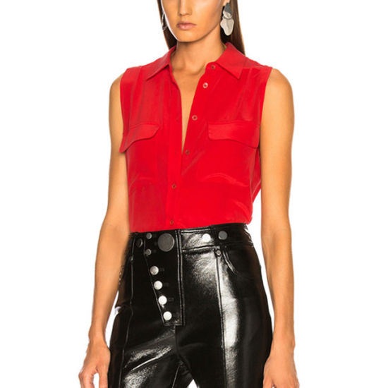 Factory Custom Design Women's Fashion Cheap Red Shirt