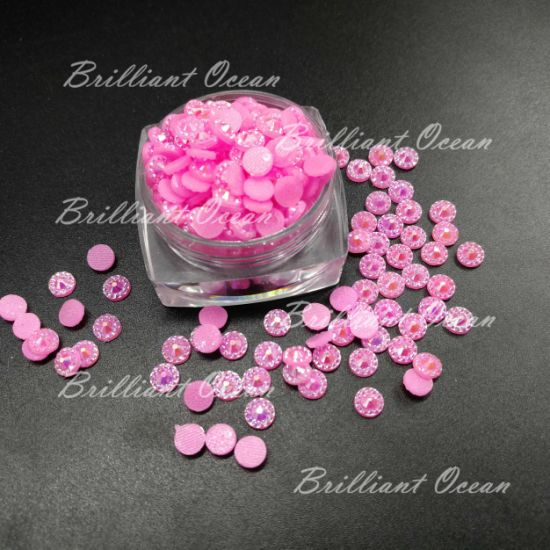 Hot Pink Ab Shinny Resin Hotfix Rhinestones for Decoration
