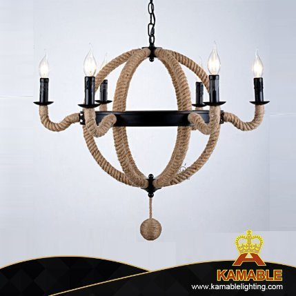 Retro/Vintage Edison Style Hemp Rope Iron Pendant Lamp Chandelier (GD1216-6)