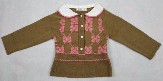 Girls Top Long Sleeves Fold Collar Cardigan with Hand Crochet Edge with Intarsia
