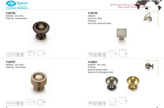 Brushed Nickel Kitchen Cabinet Pull And Knob Zamak 3 Die Casting Furniture Hardware