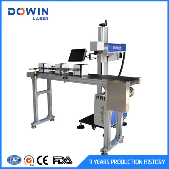 Automatic 20W 30W 50W Flying Fiber Laser Marking Marker Machine Logo Printing Machine for Jewelry Stainless Steel Aluminum Laser Printer Machine with Conveyor