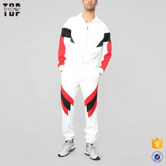 China Supplier OEM Custom Slim Fit White Track Full Zip Tracksuit with Color Block Design