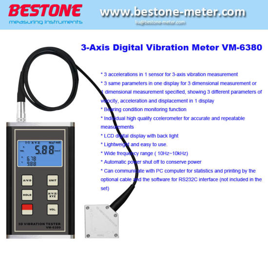 3 Axis Vibration Meter Measure Periodic Motion 3-Axis Piezoelectric  Accelerometer Sensor Displacement Velocity Acceleration Digital Vibration  Meter