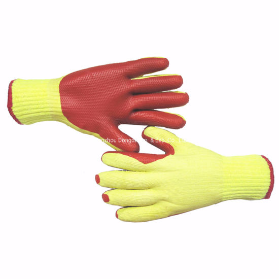 Polyester Cotton Liner with Red Rubber Coated Working Labor Gloves