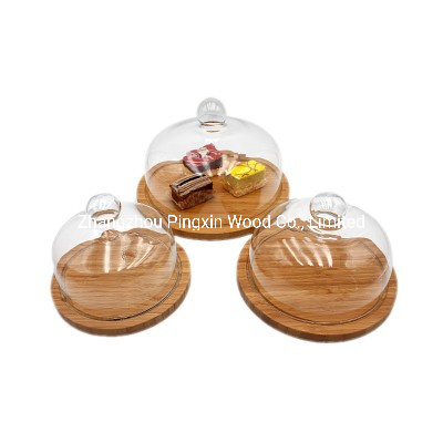 Round Bamboo Serving Tray with Glass Lid Cover for Salad Cheese, Bread, Cake, Snacks Tray. pictures & photos