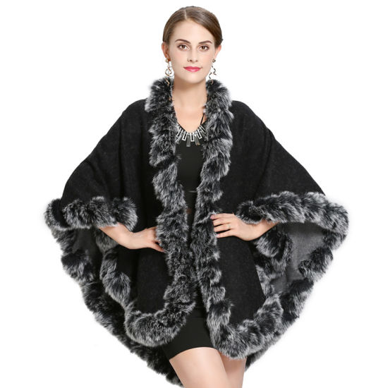 Double-Sided Large-Sized Hand-Worn Fur Shawl Cloak