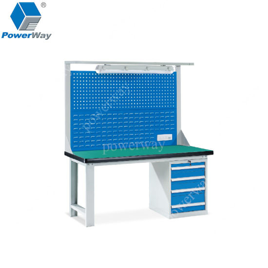 Metal Heavy Duty Workbench with Tool Chest and Light