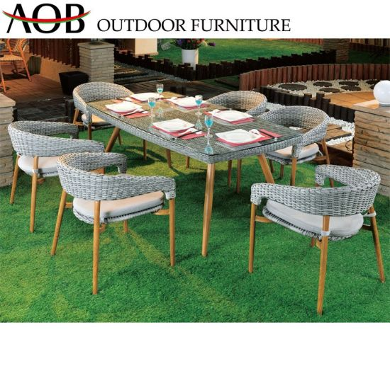 China Garden Set Outdoor Garden Patio Home Hotel Round Wicker Rattan 6 Seater Dining Table Chair Furniture China Outdoor Furniture Dining Furniture