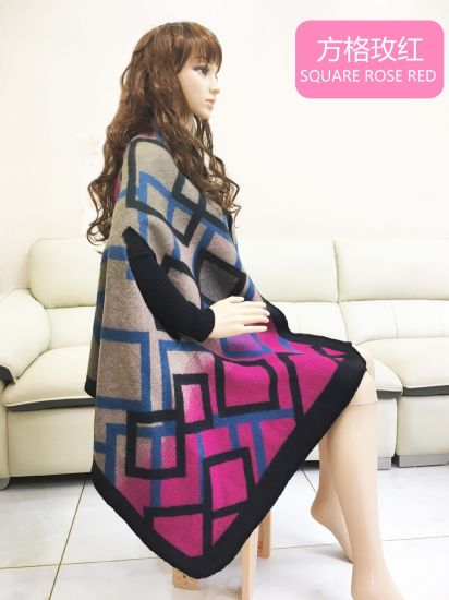 Geometric Colour Square Knitted Cashmere Shawl Scarf