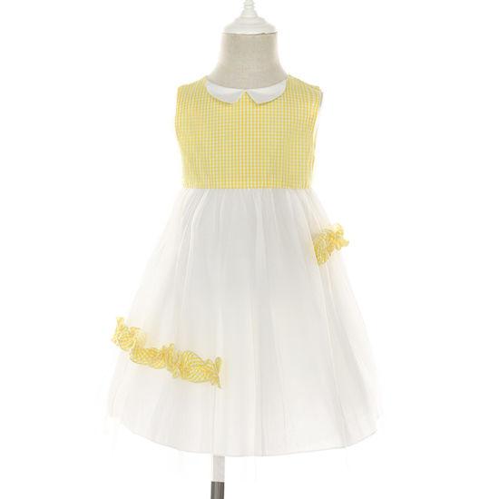 Sleeveless Plaid Contrast Tulle Girl Summer Dresses Kids Frocks