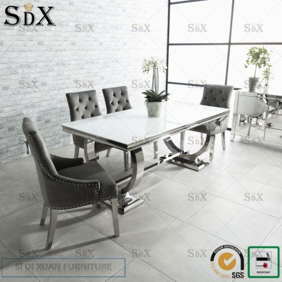 Modern Design Glass Stainless Steel Dining Table Sets for Home Livngroom Furniture