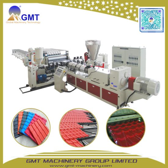 PVC+PMMA/ ASA Coloured Glazed Roof Ridge Tile Plastic Extruder Machine