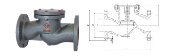 10/16kg Double Flanged Casting Iron OEM Stainless Steel Lift Check Valve