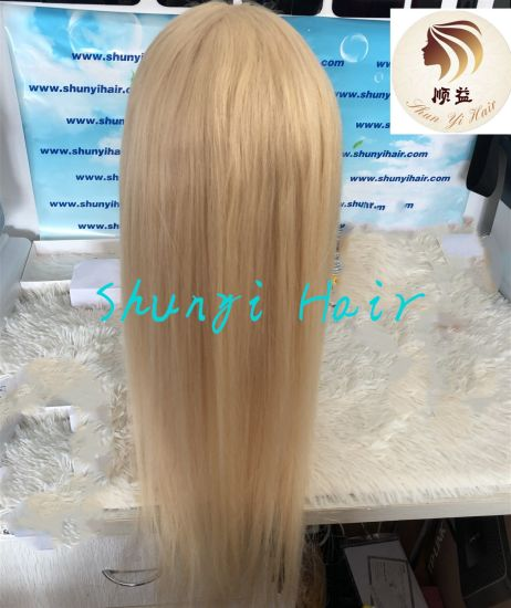 Blonde Pre Plucked Baby Hair Around Straight Remy Human Glueless 360 Lace Wig with Transparent Lace