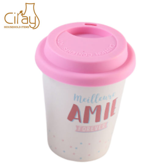 Small Ceramic Porcelain Coffee Travel Mug with Silicone Lid