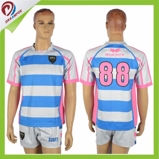 Custom Sublimated Mens Rugby Jersey and Shorts for Rugby Sets Team pictures & photos