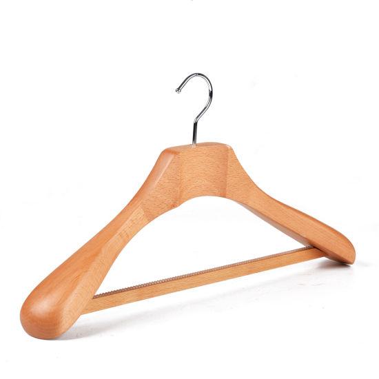 Luxury Heavy Custom Wide Shoulder Wooden Hanger Suit