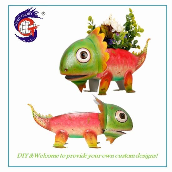 Good Quality Dinosaur House Ornaments of Home and Garden Flower Pot Metal for Garden Decoration