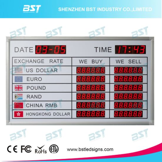 Customize Indoor LED Exchange Rate Sign for Bank