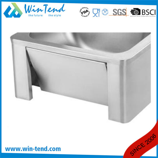 Knee Operated Faucet Water Connection Kitchen Sink Basin with Stainless Steel 18/8 Basin and Backsplash pictures & photos