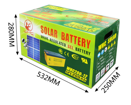 Whc Rechargeable 12V 200ah Gel Battery for Solar Energy System pictures & photos