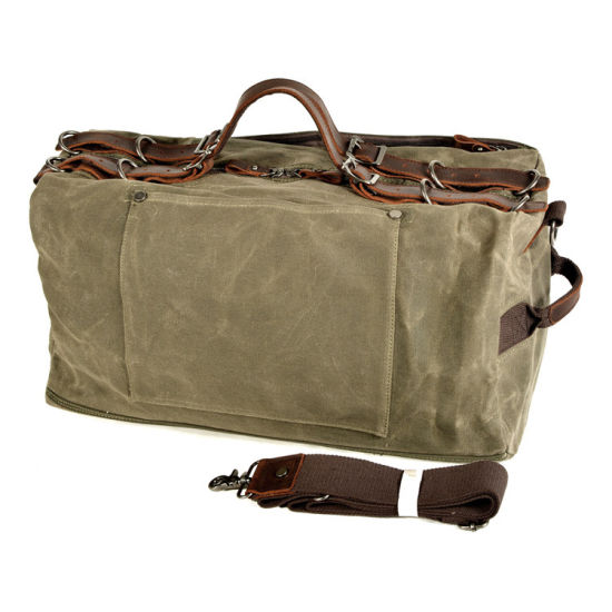 Wholesale Price Custom Design Waxy Canvas Leather Travel Bag Canvas Leather Duffle Bag for Men
