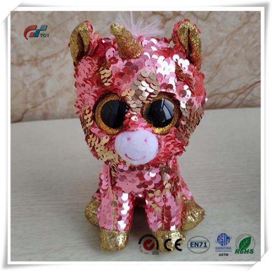 Big Eyes Unicorn Animals Plush Toy with Sequins for Kids pictures & photos