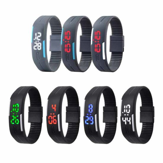 Fashion Boys Girls Teenagers Students Sport LED Watches Candy Color Silicone Rubber Touch Screen LED Digital