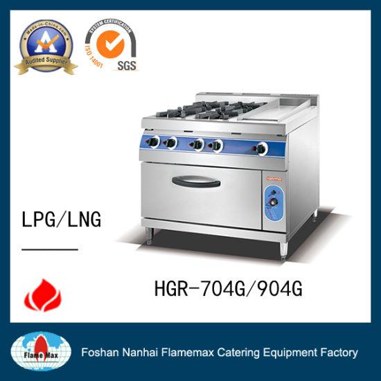 4-Burner Gas Range with Gas Griddle& Oven for Hotel (HGR-904G)