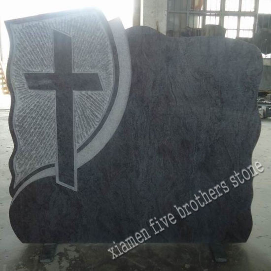 Bahamas Blue Granite European Style Monument, Granite Headstone