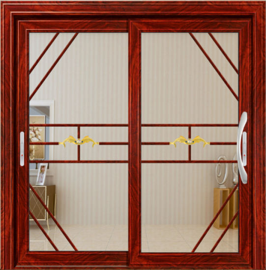China Great Design Wooden Color Finished Aluminum Double Glass