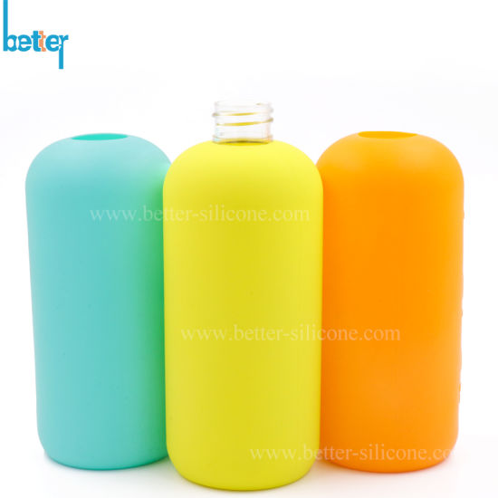 Custom Personalized Reusable Embossed Logo Silicone Bottle Sleeve