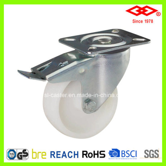 75mm Swivel Plate with Brake Plastic Industrial Caster (P101-30D075X25S)