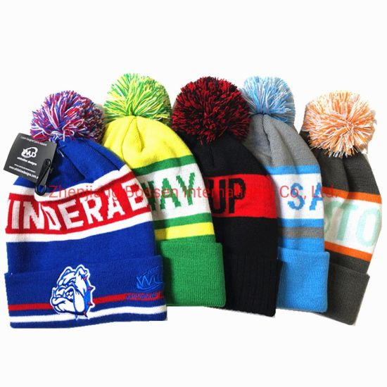 China Supplier OEM Customized Logo Jacquard Embroidered Winter Acrylic Knitted Beanie Hat