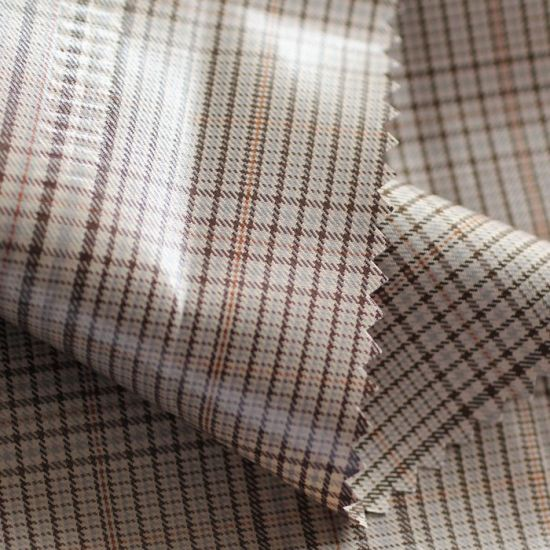 Grid Polyester Fabric with PU Coating for Garments China